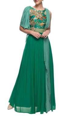 Turquoise floor length embroidered kurta with drapes