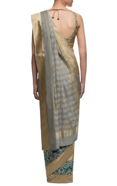 Grey and gold striped sari with motif details