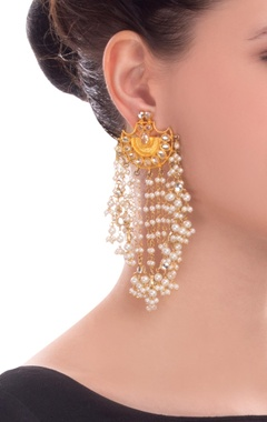 Gold finish earrings with pearl chain detail