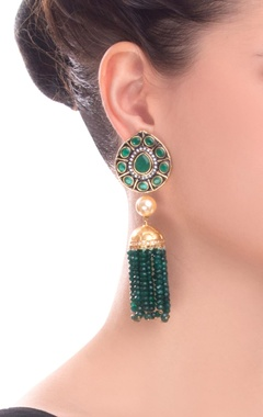 Gold & green earrings with stone detailing