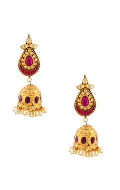 Gold finish jumki earrings with kundan & pink accents