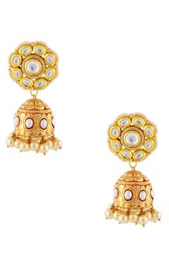 Gold finish floral motif jhumkas