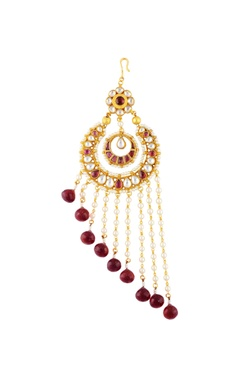Gold finish passa with kundan and maroon stones