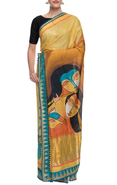 yellow monga silk sari with hand-painted pallu