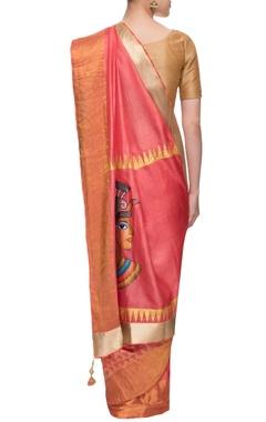 Carrot pink sari with tribal print
