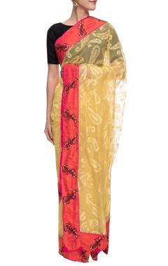 Yellow self-weave net chanderi sari
