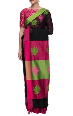 Black and pink lotus motif linen sari