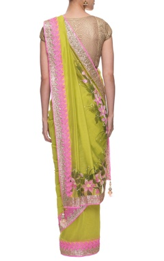 green chanderi sari with flower hand painting and lace border