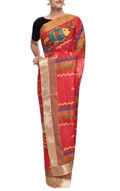 Red monga silk hand painted sari