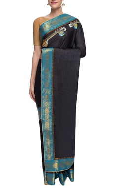 black tussar silk sari with south indian border