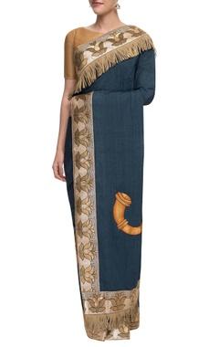 Blue chanderi sari with embellishments