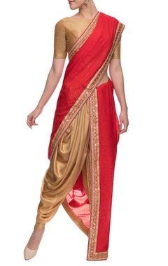 Gold and red shimmer dhoti and embellished sari