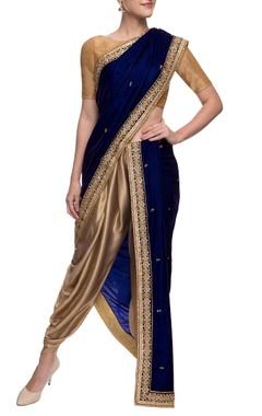 Gold and navy blue velvet dhoti sari