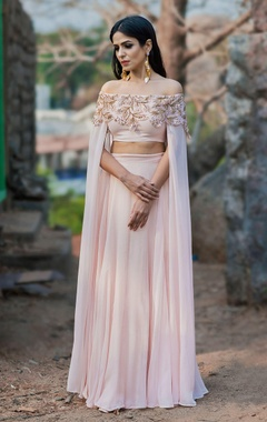 Blush pink off shoulder crop top & lehenga