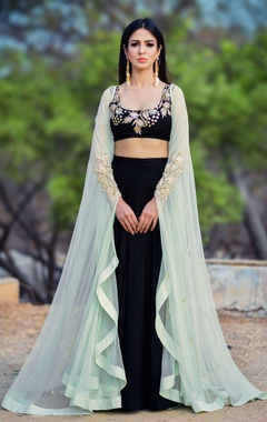 Black lehenga set with mint green cape
