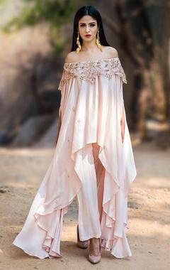 Blush pink off shoulder kurta set