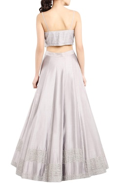 Mist grey tasseled lehenga set