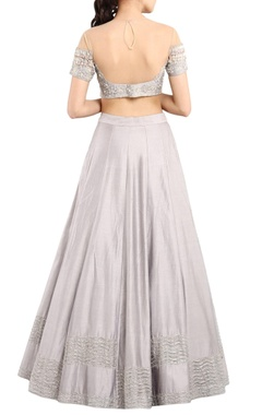 ice grey tasseled lehenga set