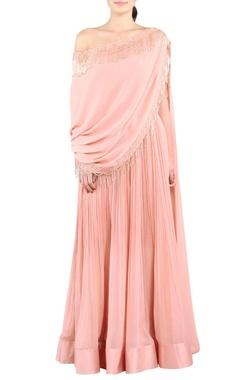 Rose pink tasseled drape gown