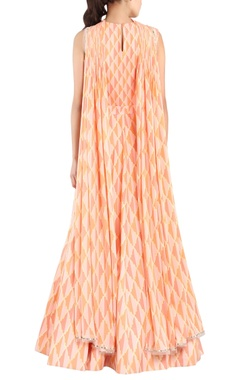 Peach printed & embroidered anarkali