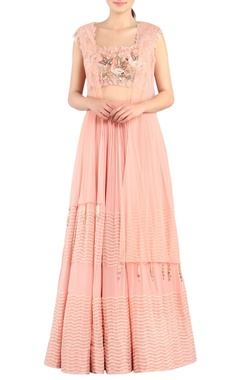 Rose pink lehenga & blouse with cape