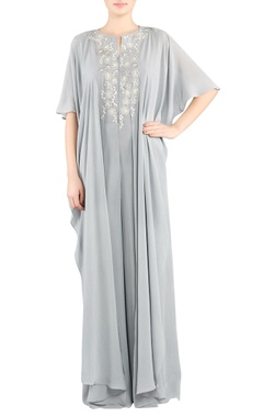 Grey embroidered cape jumpsuit