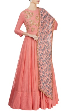 pink anarkali set with yoke
