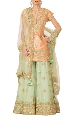 Preeti S Kapoor Peach & pista green sharara set