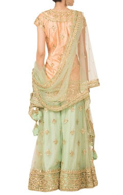 Peach & pista green sharara set