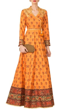 mustard yellow silk angrakha anarkali