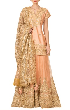 Peach gota patti sharara set