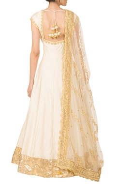 Ivory & gold silk anarkali set