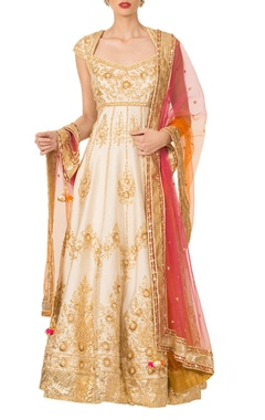 Ivory gota patti anarkali set