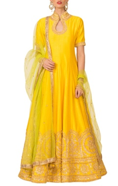 Yellow gota pati anarkali set