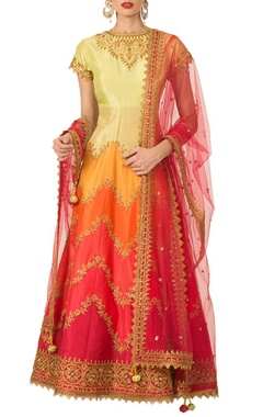 multi-colored embroidered anarkali set