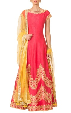 Coral pink gota patti anarkali set