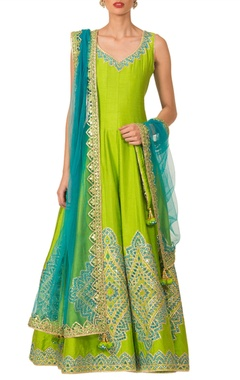 parrot green anarkali set