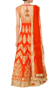 Orange & gold applique anarkali set