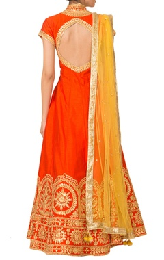 Orange gota pati anarkali set