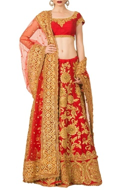 Cherry red gota patti lehenga set