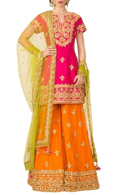 hot pink, orange & green sharara set