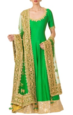 emerald green anarkali set