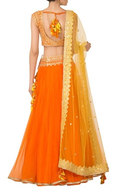 Orange & yellow mirrorwork lehenga set