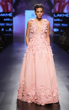 Powder pink embellished ball gown