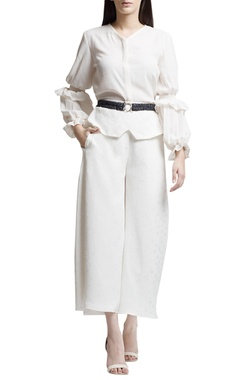 Ivory top with ruffle sleeves