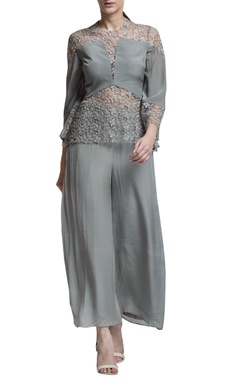 sage grey embroidered top