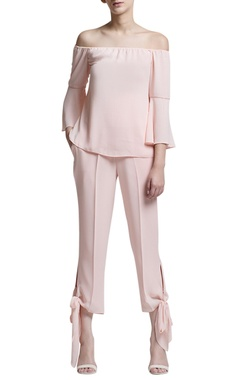 blush pink tie-up trousers