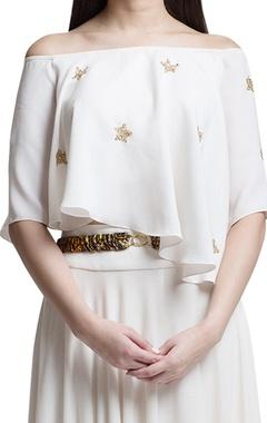 Ivory embellished crop top