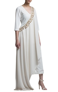 ivory jumpsuit with drape
