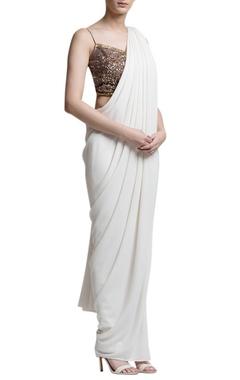 Ivory sari with embellished blouse
